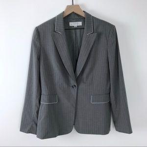 Tahari pinstripe blazer women's 14 gray white